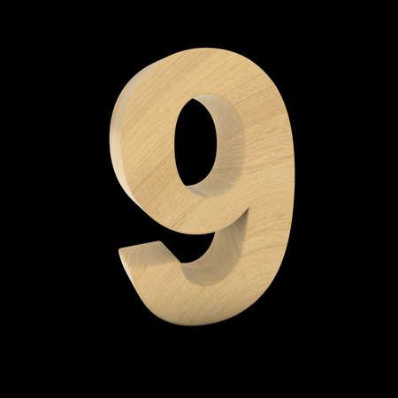 Wooden Number Nine Isolated on Black 3D Illustration Stock fotó