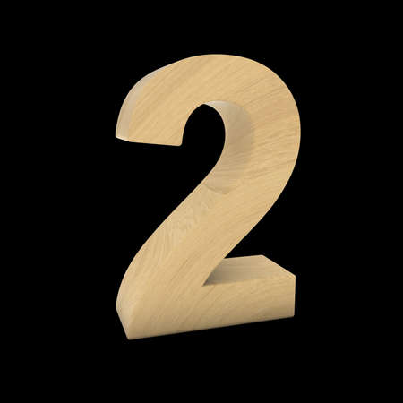 wood carving 3d: Wooden Number Two Isolated on Black 3D Illustration Stock Photo