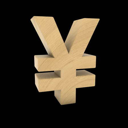 wood carving 3d: Wooden Yen Symbol Isolated on Black 3D Illustration