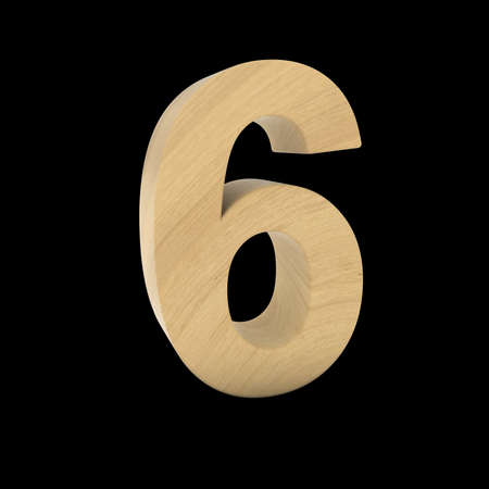 Wooden Number Six Isolated on Black 3D Illustration Stock fotó