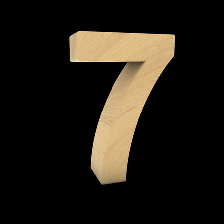 wood carving 3d: Wooden Number Seven Isolated on Black 3D Illustration Stock Photo