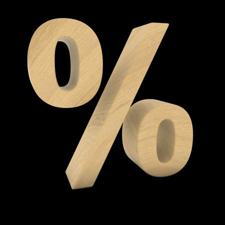 percent sign: Wooden Percent Sign Isolated on Black 3D Illustration