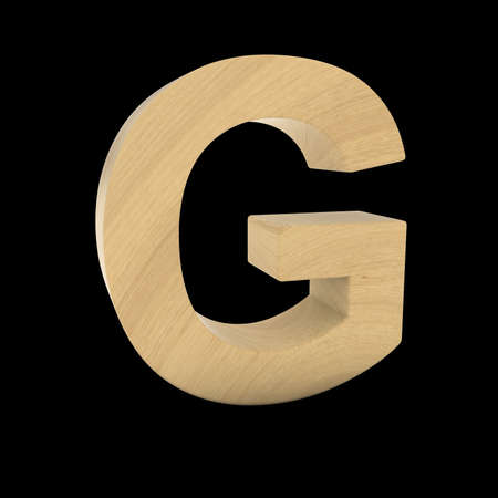 wood carving 3d: Wooden Letter G Isolated on Black 3D Illustration