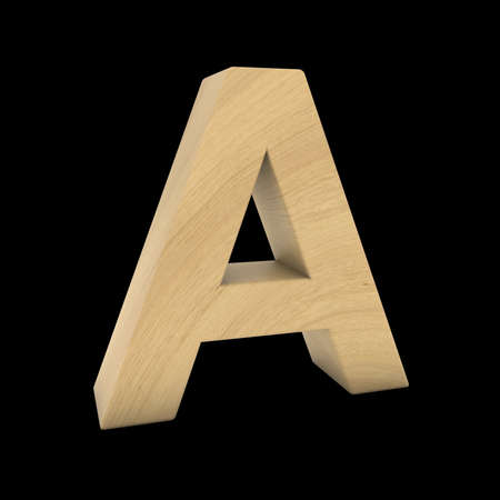 Wooden Letter A Isolated on Black 3D Illustration