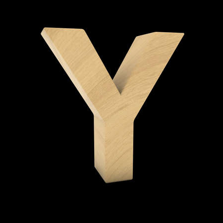wood carving 3d: Wooden Letter Y Isolated on Black 3D Illustration