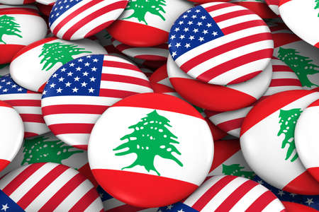 discs: USA and Lebanon Badges Background - Pile of American and Lebanese Flag Buttons 3D Illustration