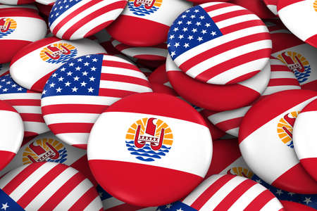 discs: USA and Tahiti Badges Background - Pile of American and Tahiti Flag Buttons 3D Illustration