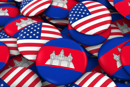 USA and Cambodia Badges Background - Pile of American and Cambodian Flag Buttons 3D Illustration