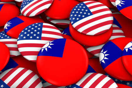 USA and Taiwan Badges Background - Pile of American and Taiwanese Flag Buttons 3D Illustration Stock Photo