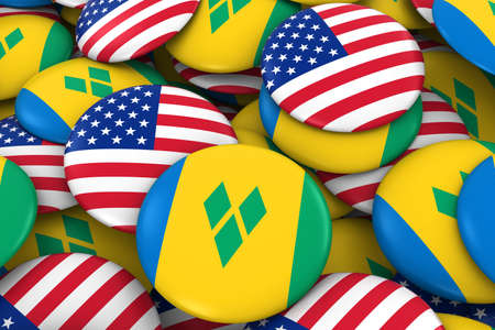 discs: USA and Saint Vincent and the Grenadines Badges Background - Pile of American and Vincentian Flag Buttons 3D Illustration