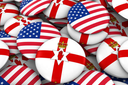 ulster: USA and Northern Ireland Badges Background - Pile of American and Northern Irish Ulster Flag Buttons 3D Illustration