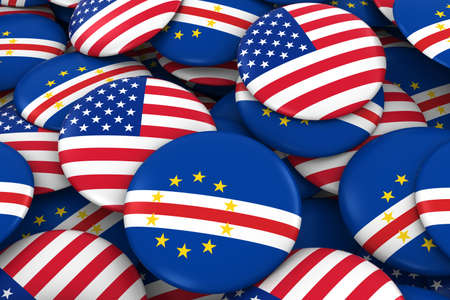 USA and Cape Verde Badges Background - Pile of American and Cabo Verdean Flag Buttons 3D Illustration
