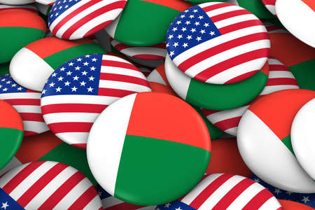 discs: USA and Madagascar Badges Background - Pile of American and Malagasy Flag Buttons 3D Illustration Stock Photo