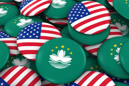 macau: USA and Macau Badges Background - Pile of American and Macanese Flag Buttons 3D Illustration