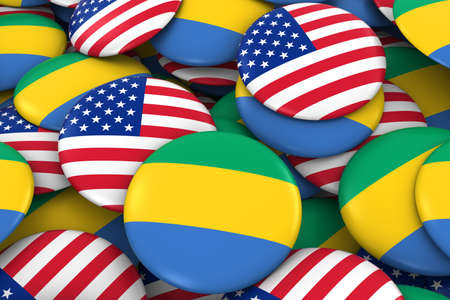 USA and Gabon Badges Background - Pile of American and Gabonese Flag Buttons 3D Illustration