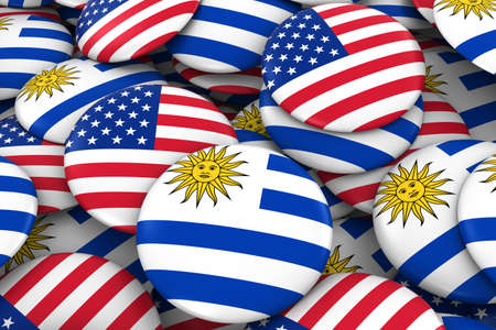 bandera de uruguay: USA and Uruguay Badges Background - Pile of American and Uruguayan Flag Buttons 3D Illustration