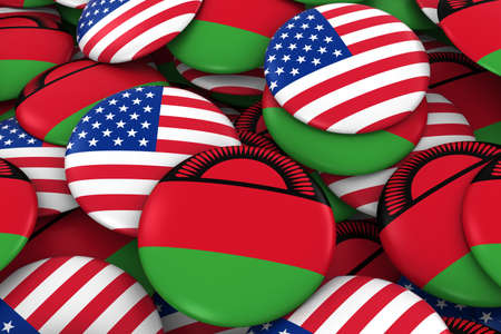 malawian flag: USA and Malawi Badges Background - Pile of American and Malawian Flag Buttons 3D Illustration