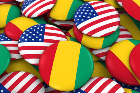 discs: USA and Guinea Badges Background - Pile of American and Guinean Flag Buttons 3D Illustration Stock Photo