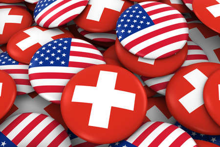 USA and Switzerland Badges Background - Pile of American and Swiss Flag Buttons 3D Illustration