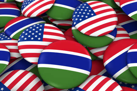 gambia: USA and Gambia Badges Background - Pile of American and Gambian Flag Buttons 3D Illustration