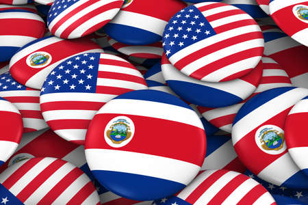 discs: USA and Costa Rica Badges Background - Pile of American and Costa Rican Flag Buttons 3D Illustration
