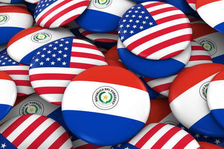 USA and Paraguay Badges Background - Pile of American and Paraguayan Flag Buttons 3D Illustration Stock Photo