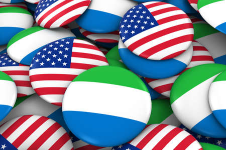 USA and Sierra Leone Badges Background - Pile of American and Sierra Leonean Flag Buttons 3D Illustration