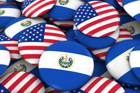 USA and El Salvador Badges Background - Pile of American and Salvadoran Flag Buttons 3D Illustration Stock Photo