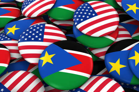 discs: USA and South Sudan Badges Background - Pile of American and South Sudanese Flag Buttons 3D Illustration