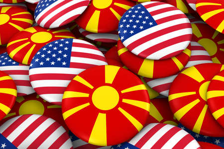 USA and Macedonia Badges Background - Pile of American and Macedonian Flag Buttons 3D Illustration Stock Photo