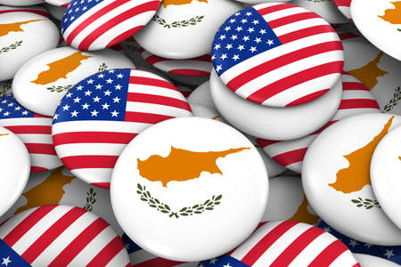 USA and Cyprus Badges Background - Pile of American and Cypriot Flag Buttons 3D Illustration