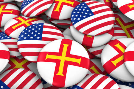 USA and Guernsey Badges Background - Pile of American and Channel Island Flag Buttons 3D Illustration