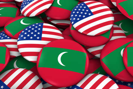 USA and Maldives Badges Background - Pile of American and Maldivian Flag Buttons 3D Illustration