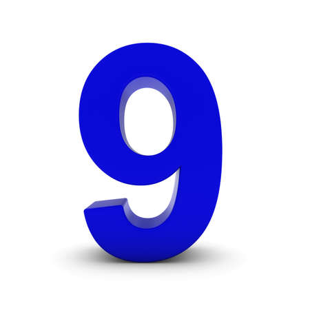 number nine: Blue Number Nine Isolated on White with Shadows 3D Illustration