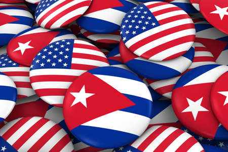 discs: USA and Cuba Badges Background - Pile of American and Cuban Flag Buttons 3D Illustration Stock Photo