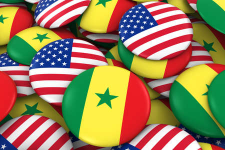 senegalese: USA and Senegal Badges Background - Pile of American and Senegalese Flag Buttons 3D Illustration