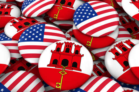 USA and Gibraltar Badges Background - Pile of American and Gibraltan Flag Buttons 3D Illustration