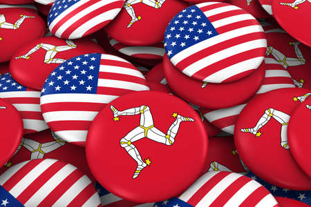 discs: USA and Isle of Man Badges Background - Pile of American and Manx Flag Buttons 3D Illustration