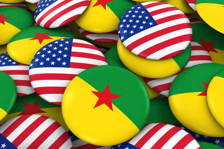 guiana: USA and French Guiana Badges Background - Pile of American and French Guianese Flag Buttons 3D Illustration