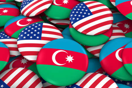 USA and Azerbaijan Badges Background - Pile of American and Azerbaijani Flag Buttons 3D Illustration
