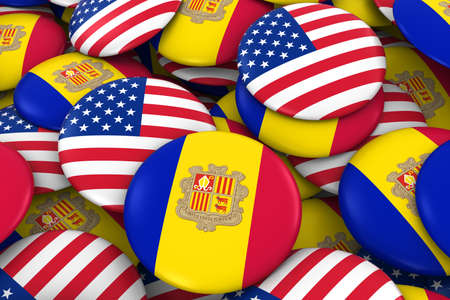 USA and Andorra Badges Background - Pile of American and Andorran Flag Buttons 3D Illustration