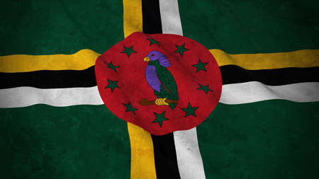 Grunge Flag of Dominica - Dirty Dominican Flag 3D Illustration