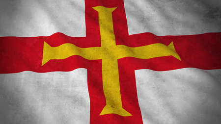 guernsey: Grunge Flag of Guernsey - Dirty Channel Island Flag 3D Illustration Stock Photo