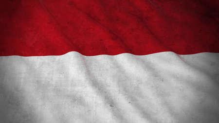 monegasque: Grunge Flag of Monaco  Indonesia - Dirty Monegasque  Indonesian Flag 3D Illustration Stock Photo