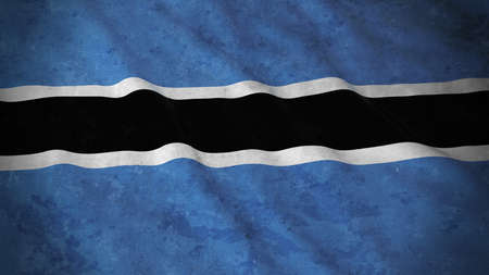 botswanan: Grunge Flag of Botswana - Dirty Botswanan Flag 3D Illustration Stock Photo