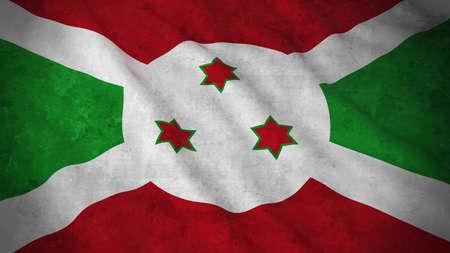 Grunge Flag of Burundi - Dirty Burundian Flag 3D Illustration Stock Photo