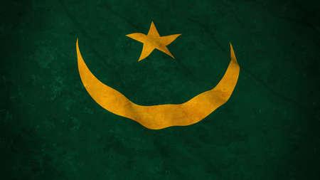 grime: Grunge Flag of Mauritania - Dirty Mauritanian Flag 3D Illustration Stock Photo