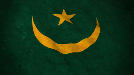 Grunge Flag of Mauritania - Dirty Mauritanian Flag 3D Illustration Stock Photo