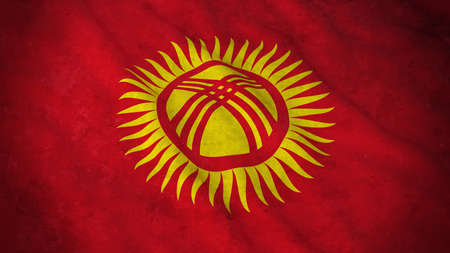 Grunge Flag of Kyrgyzstan - Dirty Kyrgyzstani Flag 3D Illustration Stock Photo