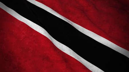 trinidadian: Grunge Flag of Trinidad and Tobago - Dirty Trinidadian or Tobagonian Flag 3D Illustration
